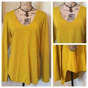 LILLA P Mustard Yellow Gold Hi/Lo Tunic Top NWT